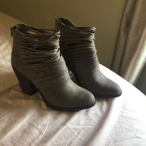 Grey strappy ankle booties